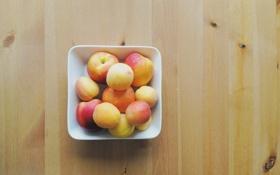 Картинка тарелка, еда, фрукты, стол, персики