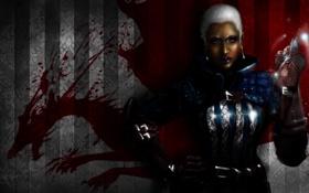 Картинка красный, фон, женщина, дракон, арт, броня, Origins