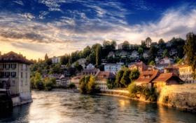 Обои Берн, город, река, небо, Швейцария