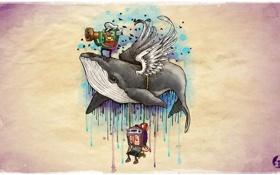Обои креатив, обои, кит, 23Alan