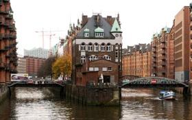 Обои мост, город, река, здания, Германия, катер, Гамбург