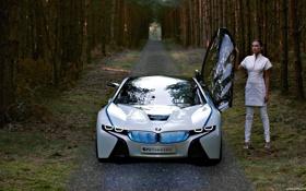 Картинка девушка, лес, белое, будущие, BMW
