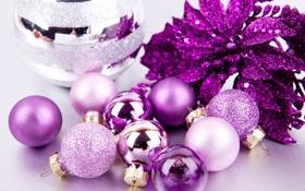 Обои wallpaper, шары, новый год, фиолетовый, рождество, фон, широкоформатные