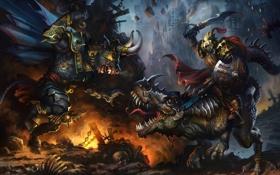 Картинка минотавр, монстр, рога, ящер, арт, битва, оружие