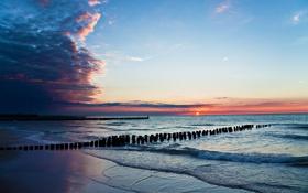 Картинка закат, облака, пейзаж, солнце, лето, вода, волны