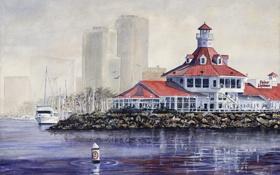 Обои набережная, фонари, маяк, акварель, море, крыша, город