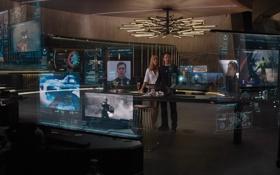 Обои информация, здание, офис, Железный человек, Marvel, Iron man, голограмма