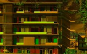 Картинка город, дом, стена, окно, лестница, балкон