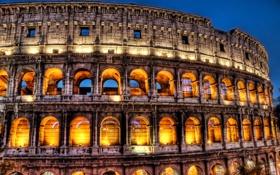 Обои италия, рим, колизей, ночь, огни