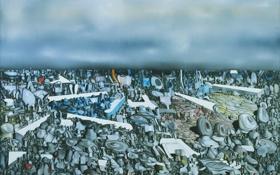 Обои небо, облака, абстракция, картина, горизонт, камушки, Yves Tanguy