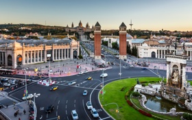 Обои движение, дома, проспект, дорога, улицы, Испания, Барселона
