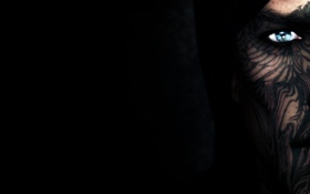 Обои взгляд, лицо, маскировка, черный фон, скайрим, Skyrim, The Elder Scrolls V