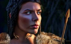 Обои девушка, арт, мех, стрела, косы, Celtic Princess