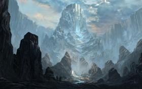 Обои горы, река, скалы, водопад, арт, путники, k04sk