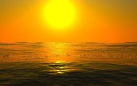 Картинка закат, вода, солнце, минимализм
