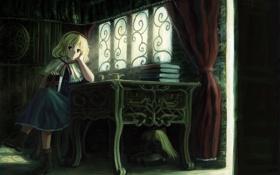 Обои стол, книги, девочка