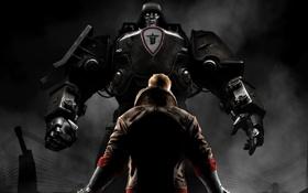Картинка металл, дым, робот, куртка, мужчина, протагонист, MachineGames