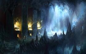 Картинка свет, скалы, огонь, человек, меч, арт, колонны