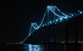 Картинка ночь, мост, город, подсветка, фонари