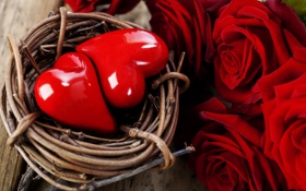 Картинка розы, сердца, сердечки, красные, форма, фигурки, плетеная