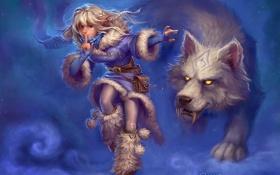Обои зима, волк, девочка