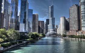 Картинка река, небоскребы, Чикаго, USA, Chicago, illinois