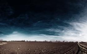 Обои природа, поле, небо, земля, облака. цвета