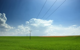 Обои небо, фото, поле, природа, пейзажи, провода, поля