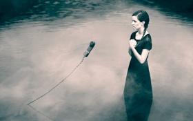 Картинка девушка, трубка, телефон, в воде
