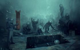 Обои арт, могила, под водой, водолазы, лопата