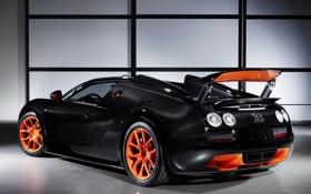 Обои Roadster, Bugatti, Veyron, supercar, black, orange, Grand Sport