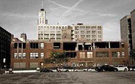 Картинка город, стройка, окна, здания, небоскребы, стоянка, парковка