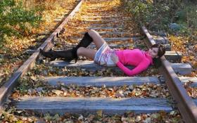 Обои железная дорога, осень, девушка