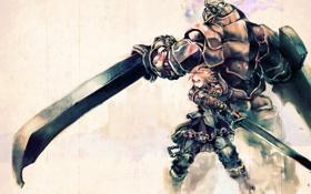 Картинка девушка, монстр, меч, доспехи, бой, воин, so-bin