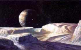 Обои космос, Боб Эгглетон, спутник, планета