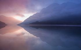 Картинка небо, закат, горы, озеро, фон