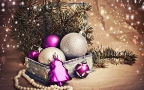 Картинка зима, шарики, ветки, коробка, игрушки, ель, Новый Год