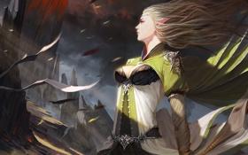 Картинка девушка, горы, ветер, арт, эльфийка