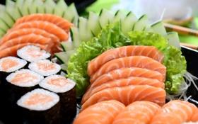 Обои суши, sushi, herbs, рыба, fish, зелень, японская кухня