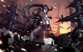 Обои девушка, оружие, скалы, арт, искры, всадники, богиня