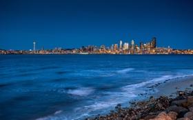 Обои ночь, город, огни, камни, побережье, дома, Сиэтл