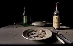 Картинка бутылки, тарелка, еда, still life, приборы