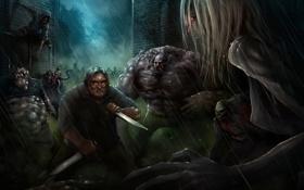 Картинка дождь, игра, монстры, зомби, ножи, Left 4 Dead, схватка