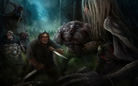 Обои Gabe Logan Newell, боссы, Гэйб Ньюэлл, Left 4 Dead, ножи, valve, зомби
