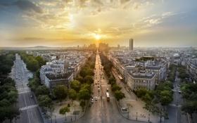 Картинка закат, город, улица, Париж, здания, Paris, France