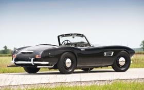 Обои чёрный, бмв, BMW, кабриолет, классика, вид сзади, 1957