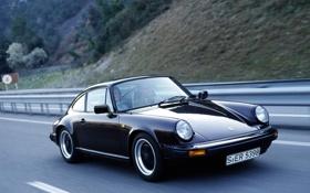 Картинка 911, Porsche, black, road, auto, walls, speed