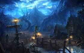 Картинка деревья, горы, ночь, огни, замок, дождь, месяц