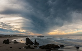 Картинка волны, пляж, облака, восход, скалы, Орегон, waves