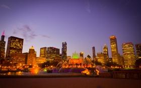 Картинка city, город, огни, парк, вечер, фонтан, USA